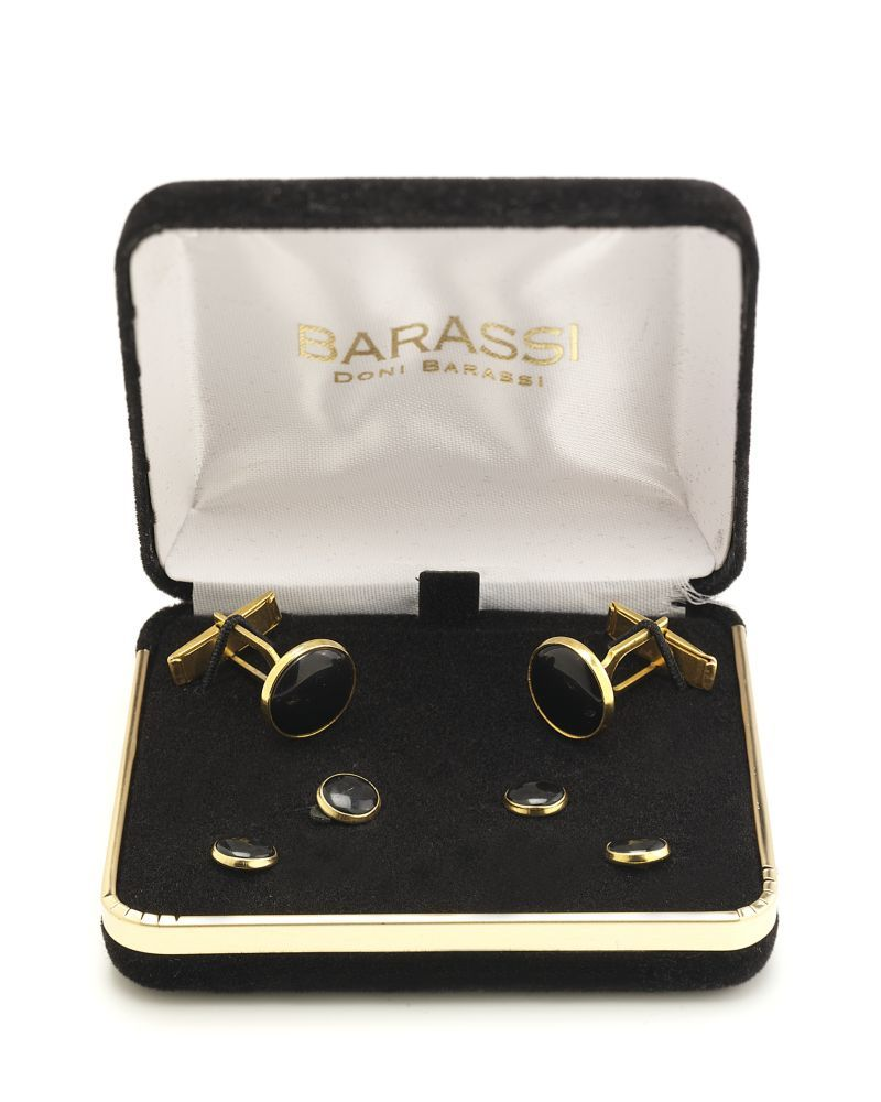 Doni Barassi Black on Gold Studs and Cufflinks