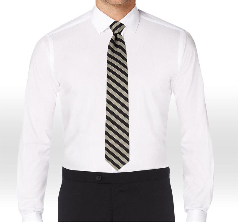 Allure Men Matching Black & Tan Striped Long Tie