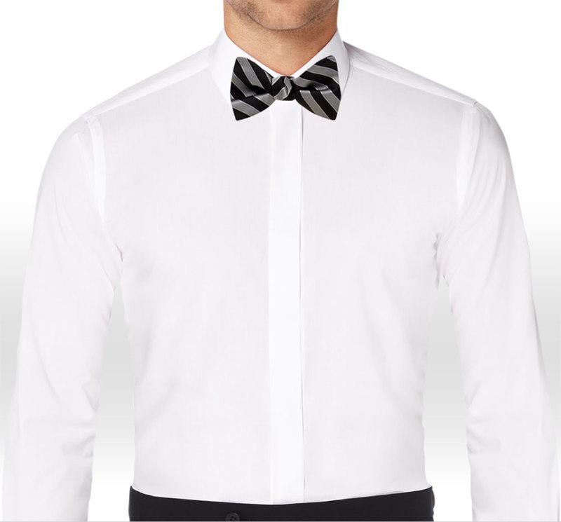 Allure Men Matching Black & Cement Striped Bow Tie