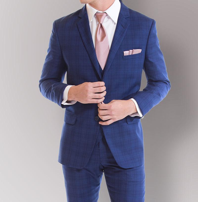 Savvi Black Label - Cobalt Blue Plaid Suit $159.95