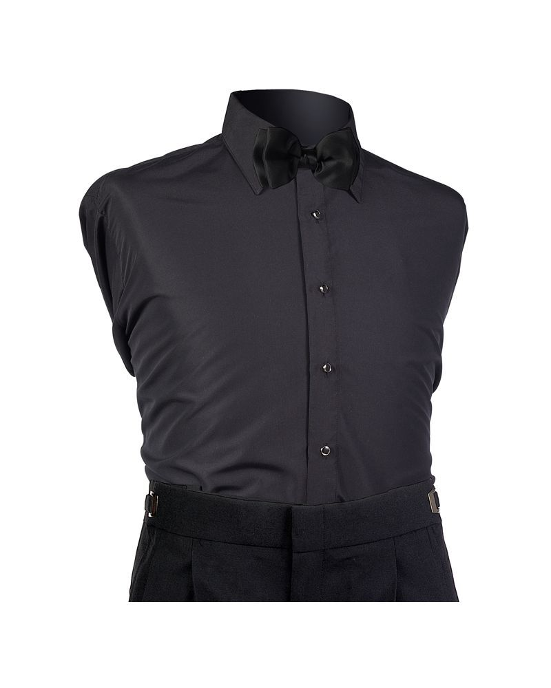 Black Microfiber Laydown Shirt