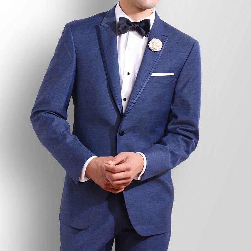 Ike Behar - Slate Blue Peak Lapel Tuxedo